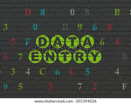 Data concept: Painted green text Data Entry on Black Brick wall background with Hexadecimal Code, 3d render