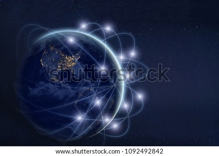 data exchange and communication technology  concept, global business network over the Earth, world web satellite connections, planet image furnished by NASA