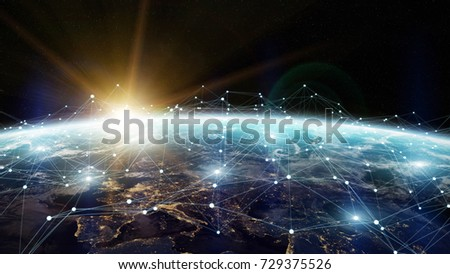 Data exchange and global network over the world 3D rendering elements of this image furnished by NASA