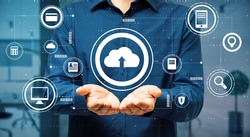 Data exchange concept with virtual cloud service buttons over man palms. Double exposure