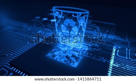 Data management, files deleting, right to forgotten concept symbol hologram on dynamic digital background. Circuit board 3d illustration.