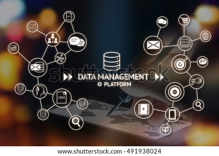 Data Management Platform (DMP) concept. Infographic , texts and icons on abstract arrow dart point to smart phone with map screen with flare light background. Marketing and crm concept #491938024