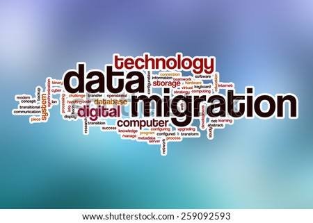 Data migration word cloud concept with abstract background