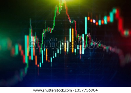 data on a monitor which including of Market Analyze. Bar graphs, Diagrams, financial figures. Forex chart. #1357756904