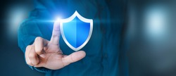 Data or network protection, business people press shield icon, virus security. Data protection and insurance Business security concepts, information security against virus.