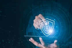 Data or network protection, business people press shield icon, web button, virus security. Data protection and insurance Business security concepts, information security against viruses,system Matrix