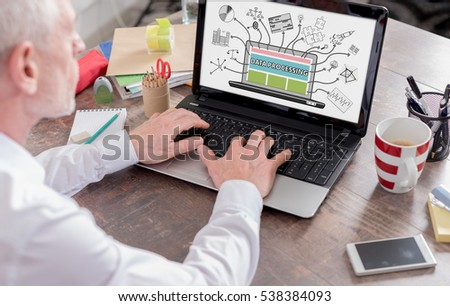 Data processing concept shown on a laptop screen #538384093