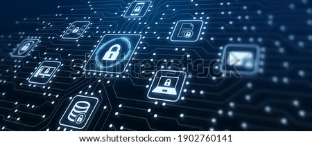 Data Protection and Cyber Security on Internet Server Network with Secure Access to Protect Privacy against Attacks. Illustration with Electronic Circuit Board Connections and Cybersecurity Icons.