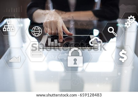 Data protection, Cyber security, information safety and encryption. internet technology and business concept.  Virtual screen with padlock icons. #659128483