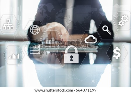 Data protection, Cyber security, information safety and encryption. internet technology and business concept.  Virtual screen with padlock icons. #664071199