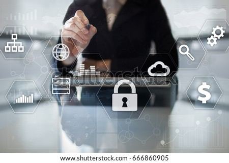 Data protection, Cyber security, information safety and encryption. internet technology and business concept.  Virtual screen with padlock icons. #666860905