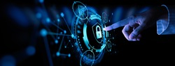 Data protection Cyber Security Privacy Business with Woman hand pointing with UI.Internet Technology Concept.