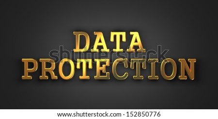 Data Protection. Gold Text on Dark Background. Information Concept. 3D Render.