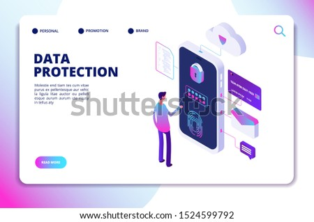Data protection isometric concept. Personal identity, protected document finance security. Confidential business landing page