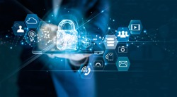 Data protection privacy concept. GDPR. EU. Cyber security network. Business man protecting data personal information on tablet. Padlock icon and internet technology networking connection on digital