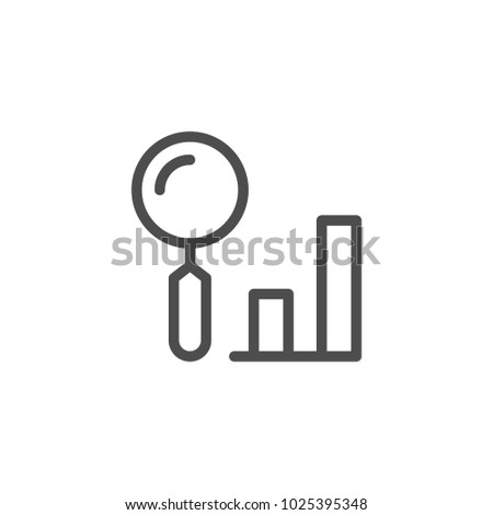 Data search line icon isolated on white