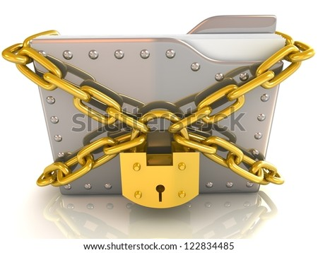 Data security concept. 3D file and lock with chain.