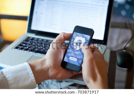 data security concept, mobile application access, login and password