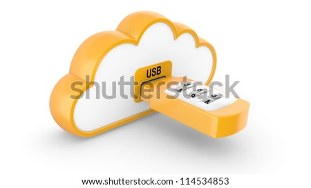 Data security concept. USB flash drive with combination lock and cloud. 3D image on white