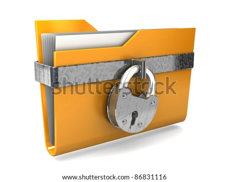 Data security. 3d illustration of folders closed isolated on white.