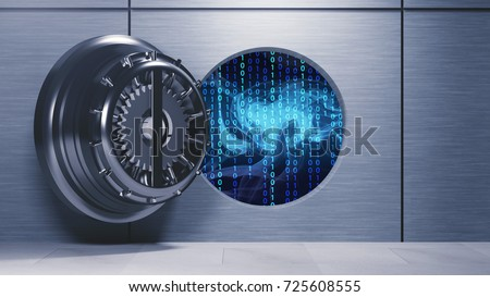 Data security in banking sector - open vault with binary code inside symbolizing open banking - 3D illustration