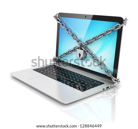 data security - laptop with padlock