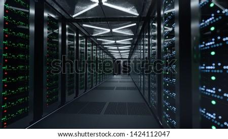 Data servers at the enterprise data center- 3D Illustration
