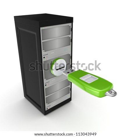 Data storage concept.Isolated on white background.3d rendered.