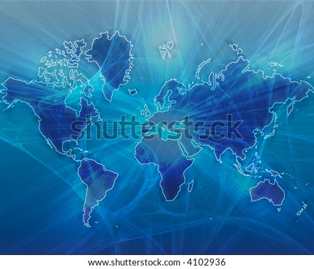 Data transfer over a map of the world blue