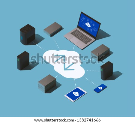 Data transmission, cloud storage and data hosting solution isometric infographic #1382741666