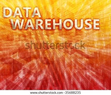 Data warehouse abstract computer technology concept illustration