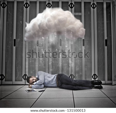 Data worker napping under cloud computing in data centre