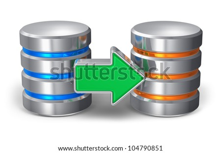 Database backup concept: two metal hard disk icons with green arrow isolated on white background