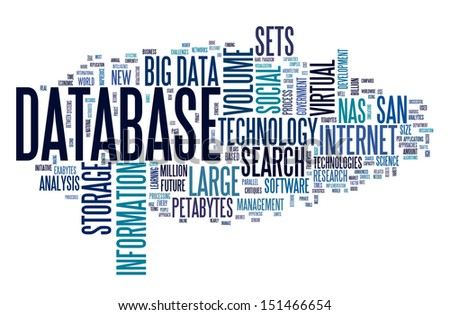 Database concept in word tag cloud on white background