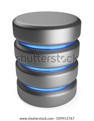 Database 3D. Storage concept. 3D icon isolated on white background