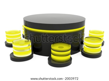 database in black and yellow over a white background done in reflective materials