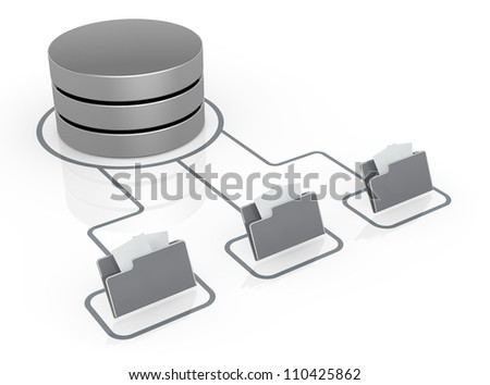 database symbol connected to computer folder icons (3d render)