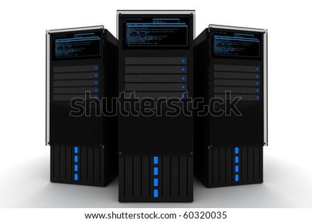 Datacenter The Datacenter. Three Black Servers 3D Render on the White Background. Hosting - Datacenter Illustration.