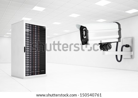 datacenter with a big cctv camera looking at computers