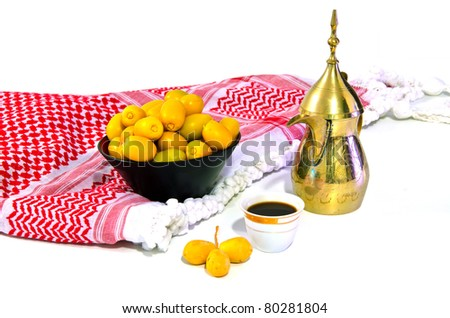 Date fruits with Arabic coffee pot