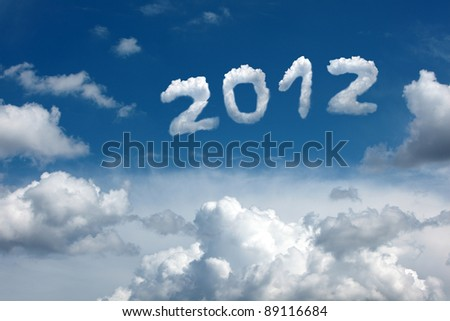 Date 2012 in the blue sky with beautiful clouds.