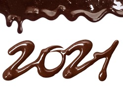 Date of the new year 2021 written by melted chocolate on a white background
