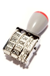 Date stamp on white