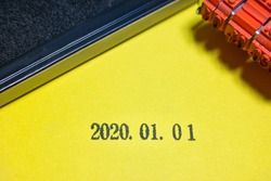 Date stamped Jan. 1, 2020 and Stamp pad