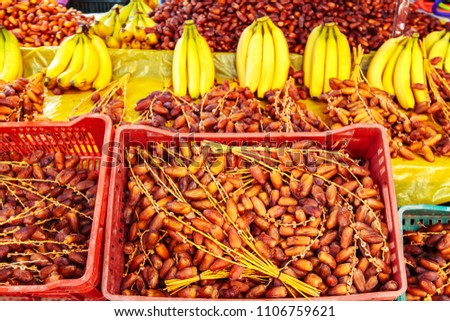 Dates and bananas in tunisian market, Sidi Bou Said, Tunisia.