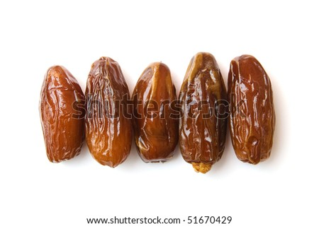 dates isolated on white, dried fruits