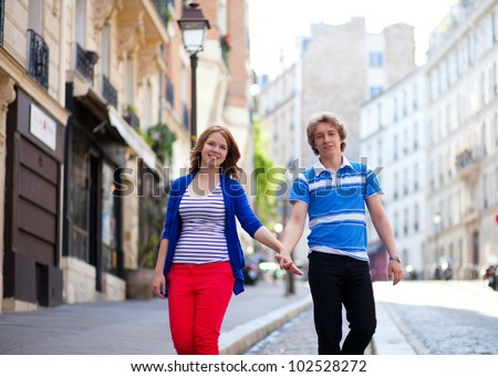 Dating couple walking on Montmartre. Paris, France