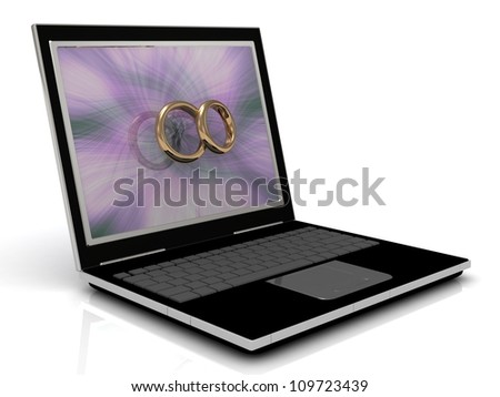 Dating on the Internet: 3D illustration of a laptop and gold wedding rings in front of the monitor