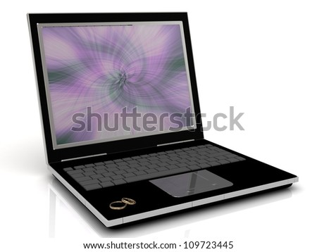 Dating on the Internet: 3D illustration of the golden wedding rings on a laptop
