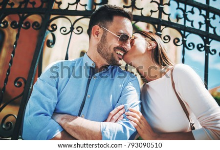 Dating. Young couple at the meeting. Romantic couple enjoying in moments of happiness. Concept of  love and romance #793090510